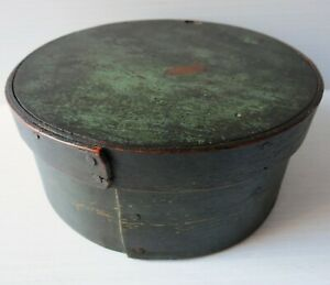 Antique Covered Wood Pantry Box In Old Green Paint