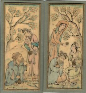 Pr Of Early Indian Miniature Scenes Watercolor Signed