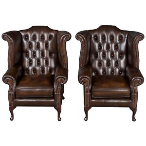 New Antique Style Queen Anne Pair Of Tufted Brown Leather Wing Back Arm Chairs