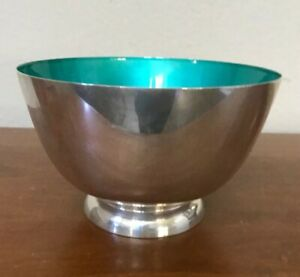 Vtg Sterling Silver Towle Footed Bowl Mint Green Enamel 48 Turquoise Mid Century