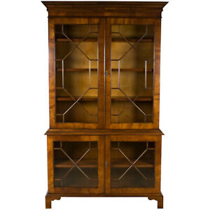 New Antique Style Mahogany Tall Glass Door Bookcase Cabinet Bookshelf Adjustable