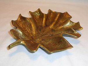 Vtg Antique Metal Brass Leaf Pin Change Ring Dresser Tray Dish Ashtray Cambron