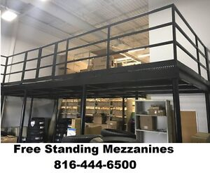 Steel Mezzanine Catwalk Structural Beams Handrails And Stairs Warehouse