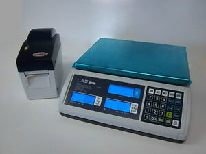 Cas S2000jr 60lb Lcd Price Computing Deli Meat Scale W godex Dt2 Label Printer