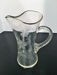 Vintage Large Etched Glass Cocktail Pitcher Applied Twisted Handle Pinched Spout