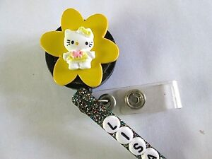 Id Badge Retract Reel Magnet Or Clip Yellow Hello Kitty medical nurse office er