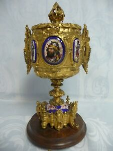 Antique Gilt Bronze Reliquary W Hand Painted Porcelain Medallions Wood Stand