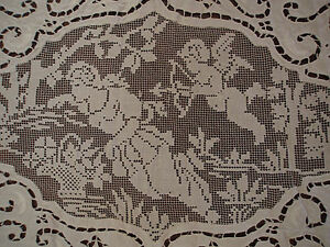 Antique Italian Point Venise Filet Figural Angel Cupid Hand Made Tablecloth 86