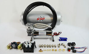 Air Ride Compressor And 5 Gallon Tank Kit With 4 Valve Manifold For Car