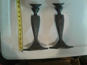 Silver Plated Candle Sticks Flat Deuce Finish Pair