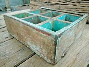 Old Vintage Wooden Hand Made Spice Box Tool Try Original Tribal Storage Try