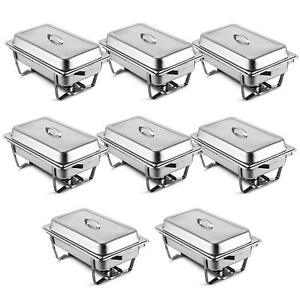 8 Pcs Chafing Dish Stainless Chafer Pan 8 Quart Food Catering Buffet Warmer