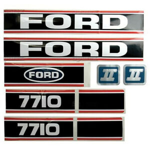 Force Ii Black Red Hood Decal Set For Ford New Holland Tractor 7710 86 Up