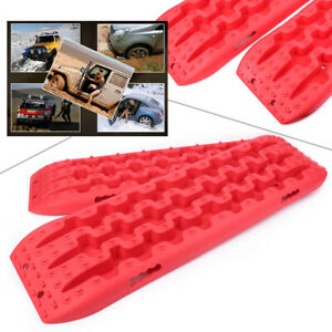 Pair Red Recovery Traction Sand Tracks Snow Mud Track Tire Ladder 4wd Off Road
