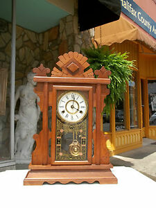 Outstanding Victorian Walnut Mantle Clock With Brass Works 19th Century