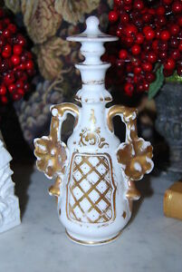 Wonderful Old Paris Gold Decorated Flower Handles Large Porcelain Perfume Bottle