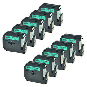 10pk Black On Green Label For Brother M k731 Mk731 P touch Tape Pt 70 80 90 100