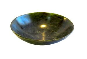 Jade Finger Bowl Chinese Spinach Green Translucent Vintage Snuff Dish