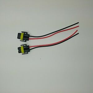 Pair Of 2 H11 H8 Female Wire Connector Plug Extension Pigtail Wiring Harness