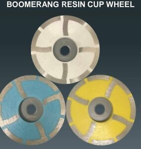 4 Diamond Grinding Cup Wheel Resin wet dry Granite Marble Stone 3 Grits Avail