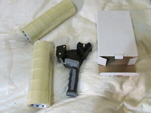 Heavy Duty Tape Gun Dispenser W Cutter 12 Rolls 2x110 Clear Packing Tape Lot