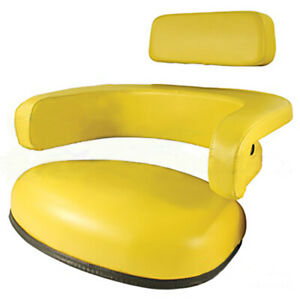 3 Pc Set Yellow Vinyl Seat Assembly W Steel Back For John Deere 3020 4020 4230