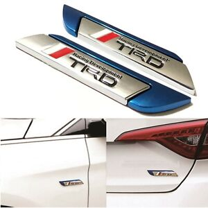 2x 3d Trd Racing Blue Side Wing Car Truck Badge Fender Body Emblem Decal Sticker