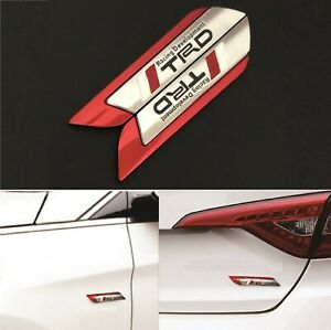 2x 3d Trd Racing Red Side Wing Car Truck Badge Fender Body Emblem Decal Sticker