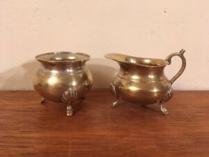 Antique Vtg Silverplate Over Brass Small Cream And Sugar Set