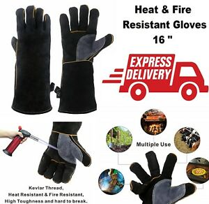 Heat Resistant Gloves Welding Soldering Protective Work Safety Cow Split Leather