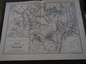 Antique Map Map Showing Locations Of The Pueblos Of Arizona And New Mexico