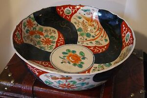 Antique Hand Painted Japanese Imari Bowl Very Old 9 1 2