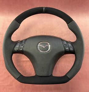 Steering Wheel Mazda 6 Mazdaspeed Sport Style Flat Bottom Alcantara Leather