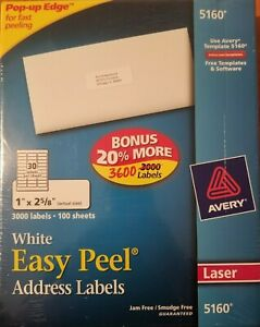 Avery 5160 Easy Peel White Laser Mailing Address Labels 1 x2 5 8 3600 Labels