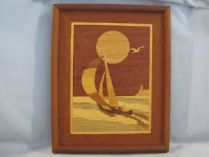 Vintage Inlaid Wood Marquetry Sail Boat Picture