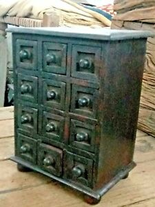 Vintage Small Chest Of Drawers Handmade Miniature Tiny 12 Drawer Wooden Rack Use
