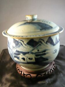Antique Ching Qing Chinese Porcelain Blue White Ginger Jar Pot Censer Cover
