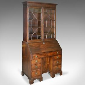 Antique Bureau Bookcase English Georgian Mahogany Circa 1800