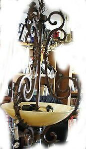 Antique 3 Light Wrought Iron Art Deco Faux Chandelier Marble Shade And Crystals