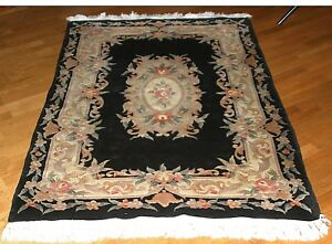 Vintage Authentic Hand Knotted Wool Chinese Art Deco Aubusson 4 X 6 Rug 50s 60s