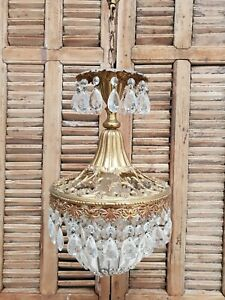 Vintage French Lxv Style Hall Chandelier Basket Sac A Perles E 0004