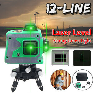 3d 12 Lines Self Leveling Green Laser Beam Level Auto 360 Rotary Cross Measure
