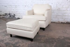Edward Wormley For Dunbar Leather Lounge Chair And Ottoman