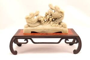 Chinese Soapstone Dueling Dragons Carved On Wood Base