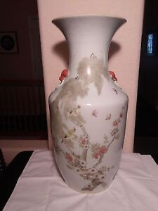 Chinese Qianjiang Porcelain Large Vase Foodog Iron Red Ring Heads 19th C