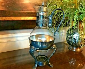 Vintage Mid Century Silver Plated And Glass Coffee Carafe Pot With Warmer Stand