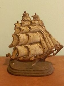 Antique Vintage Cast Iron Nautical Doorstop Pirate Sailing Ship Schooner 76