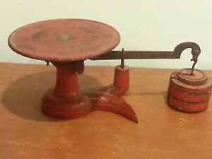 Antique General Store Little Detective Red Scale Inscribed Happy New Year 1883