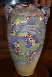 Large 16 Tall Floor Vase Birds Hand Painted Moriage Ceramic 1920s Japan