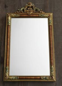 Antique Wood Gesso Ornate Gold Floral Mirror French Style